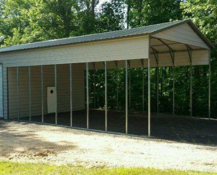 13 24 Wx51 Lx14 H Carport With Workshop Patio Roof Metal Buildings Metal Garages