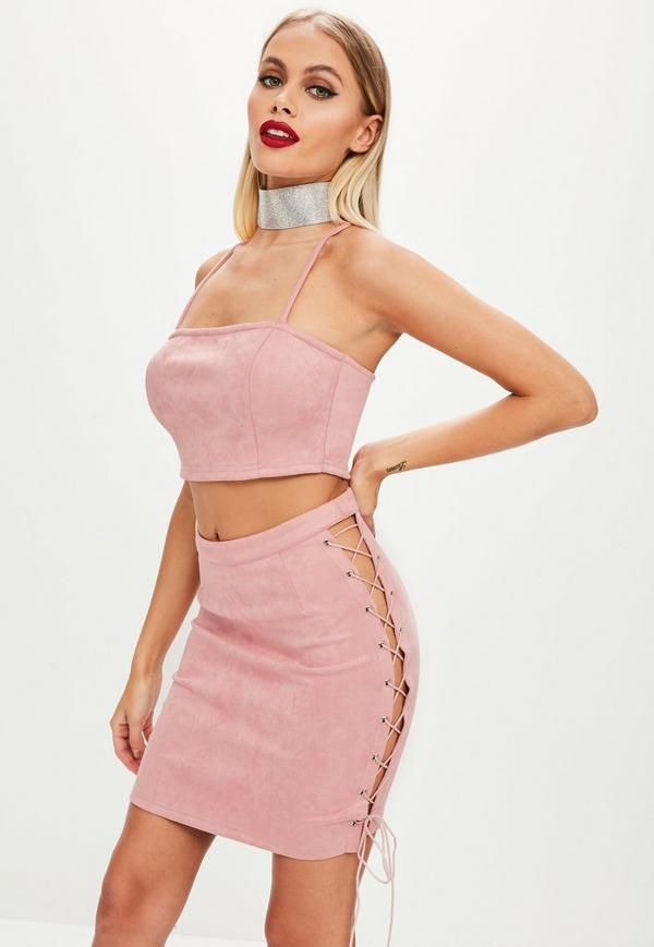 0443bf39b Missguided - Pink Faux Suede Lace Up Side Skirt | CLOTHING: PINK ...