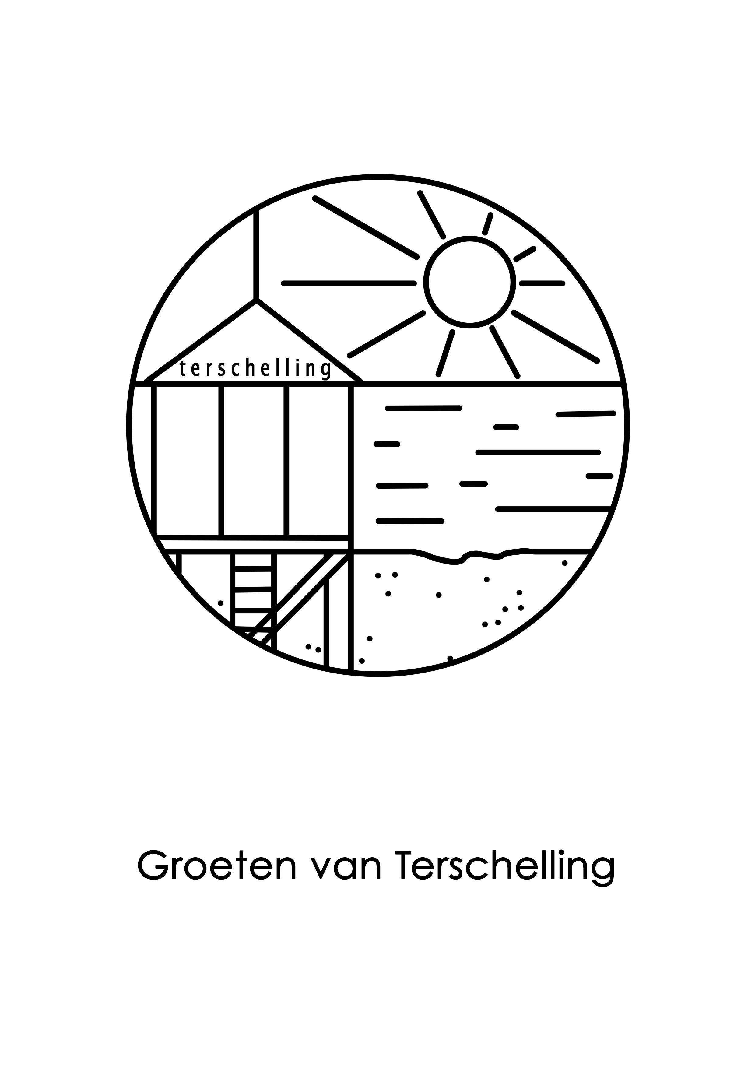 Opdreef Terschelling Huuske Grafisch Poster Kaarten