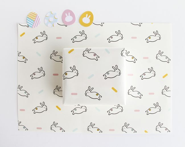 Easter bunny wrapping paper egg stickers design is yay printable bunny wrapping paper with egg stickers for your easter gifts negle Image collections