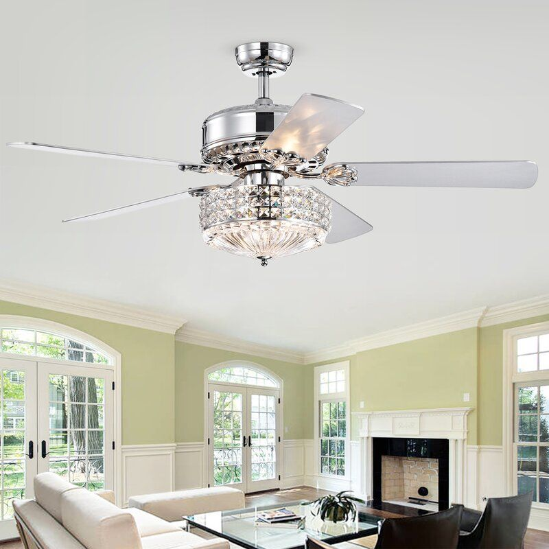 52 Marie 5 Blade Crystal Ceiling Fan With Remote Control And Light Kit Included Ceiling Fan With Remote Ceiling Fan Ceiling Lights