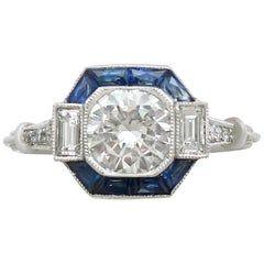 Photo of 1930s Sapphire Diamond Filigree Gold Engagement Ring