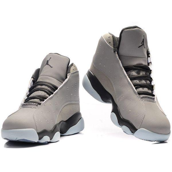 Nike Air Jordan 13 Shoes Light Grey suede deep J13-172 via Polyvore