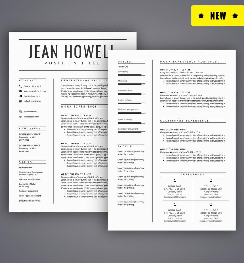 Resume Template / CV Template for Word, Cover Letter, Two