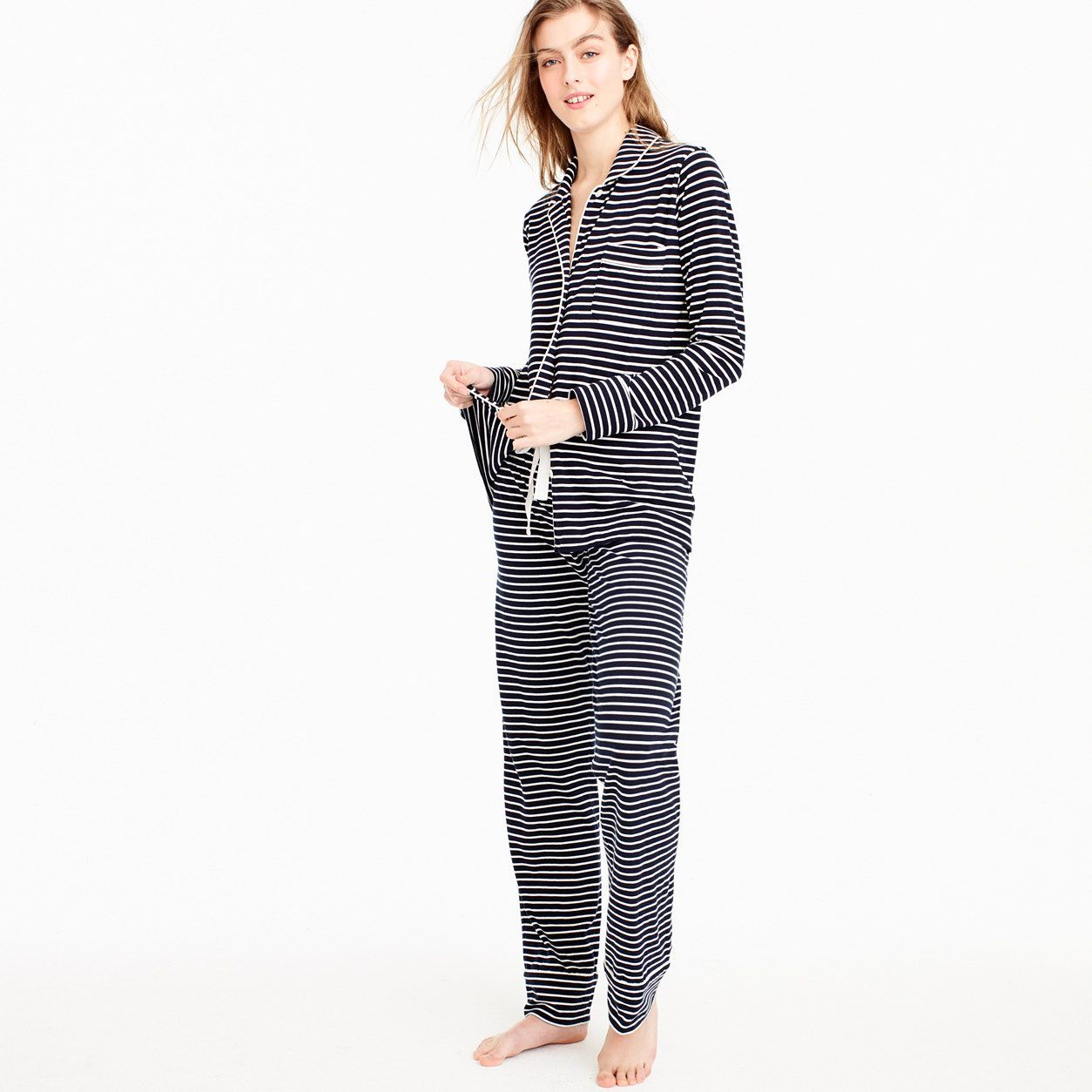7286754c25 J.Crew Womens Petite Dreamy Cotton Pajama Set In Stripe (Size L Petite)