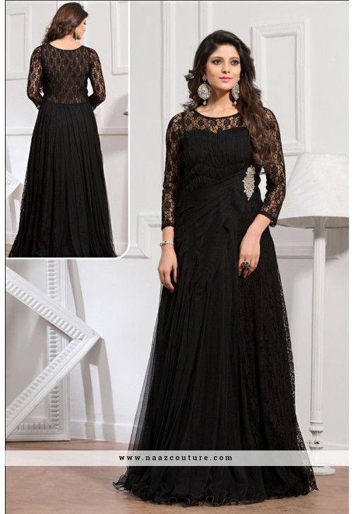 f6f79712cbd Readymade Black Color Net Evening Gown