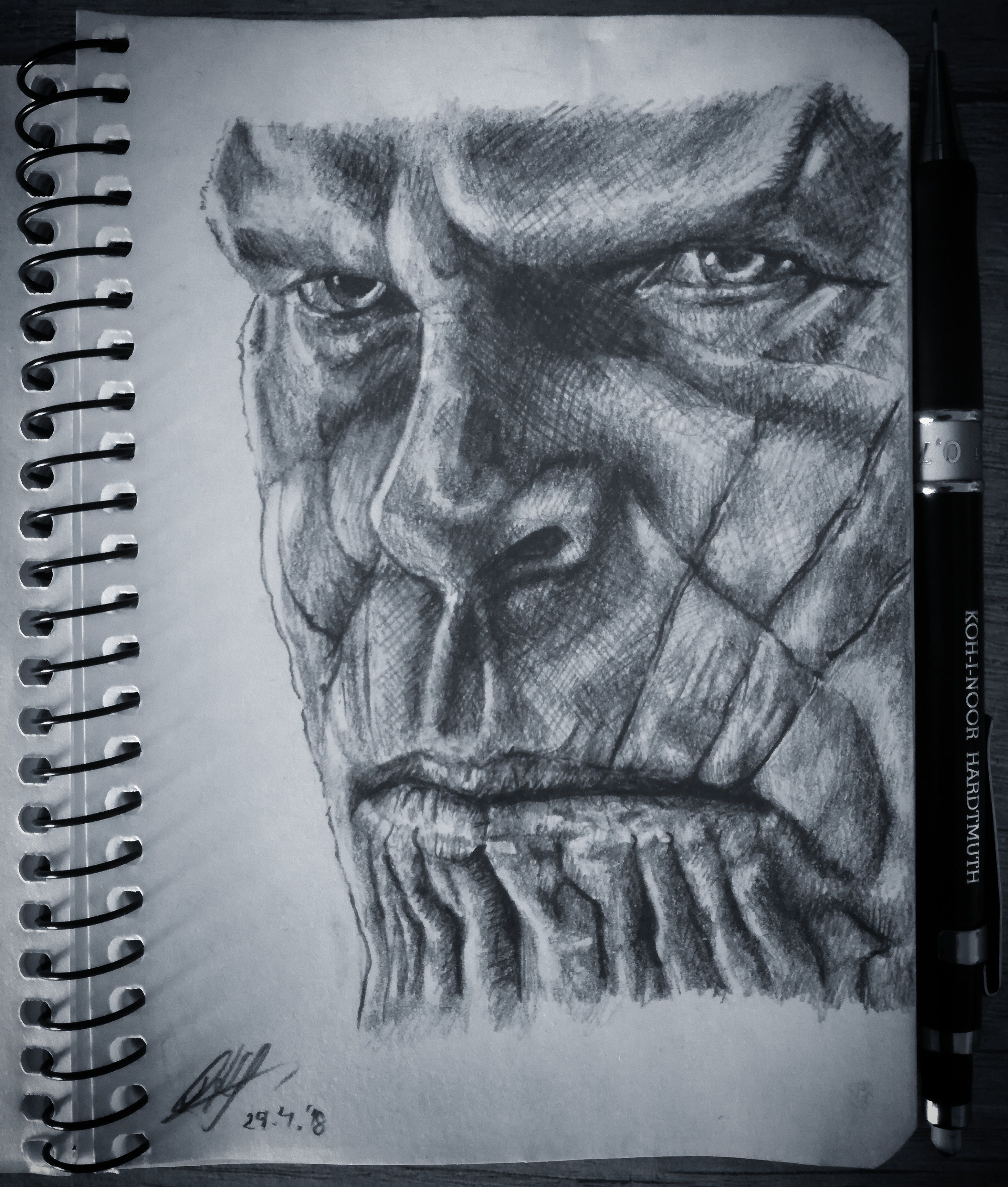 Thanos Drawing I Did Today Marvel Drawings Sketches Captain
