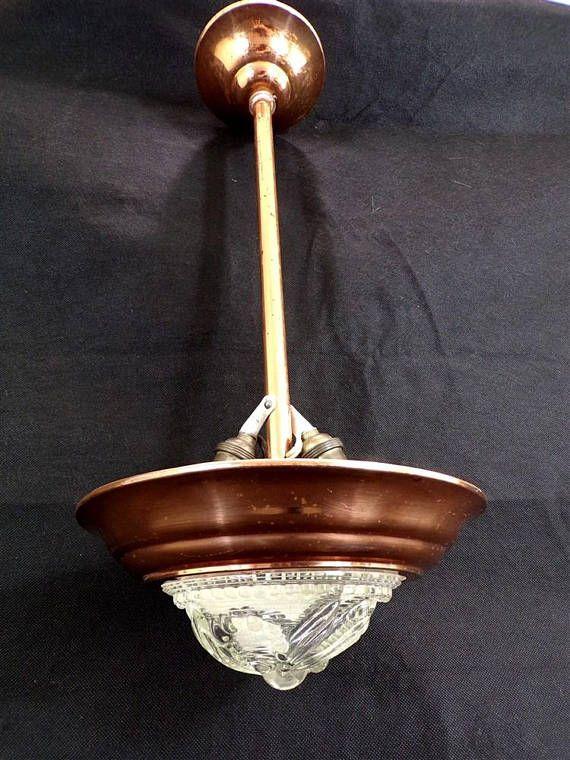 Suspension vintage en cuivre et verre des années 40 lustre