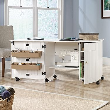 Drop leaf provides extra work space for sewing or crafts storage sewing machine table cabinet craft storage desk dresser drop leaf bins white go shop crafts watchthetrailerfo
