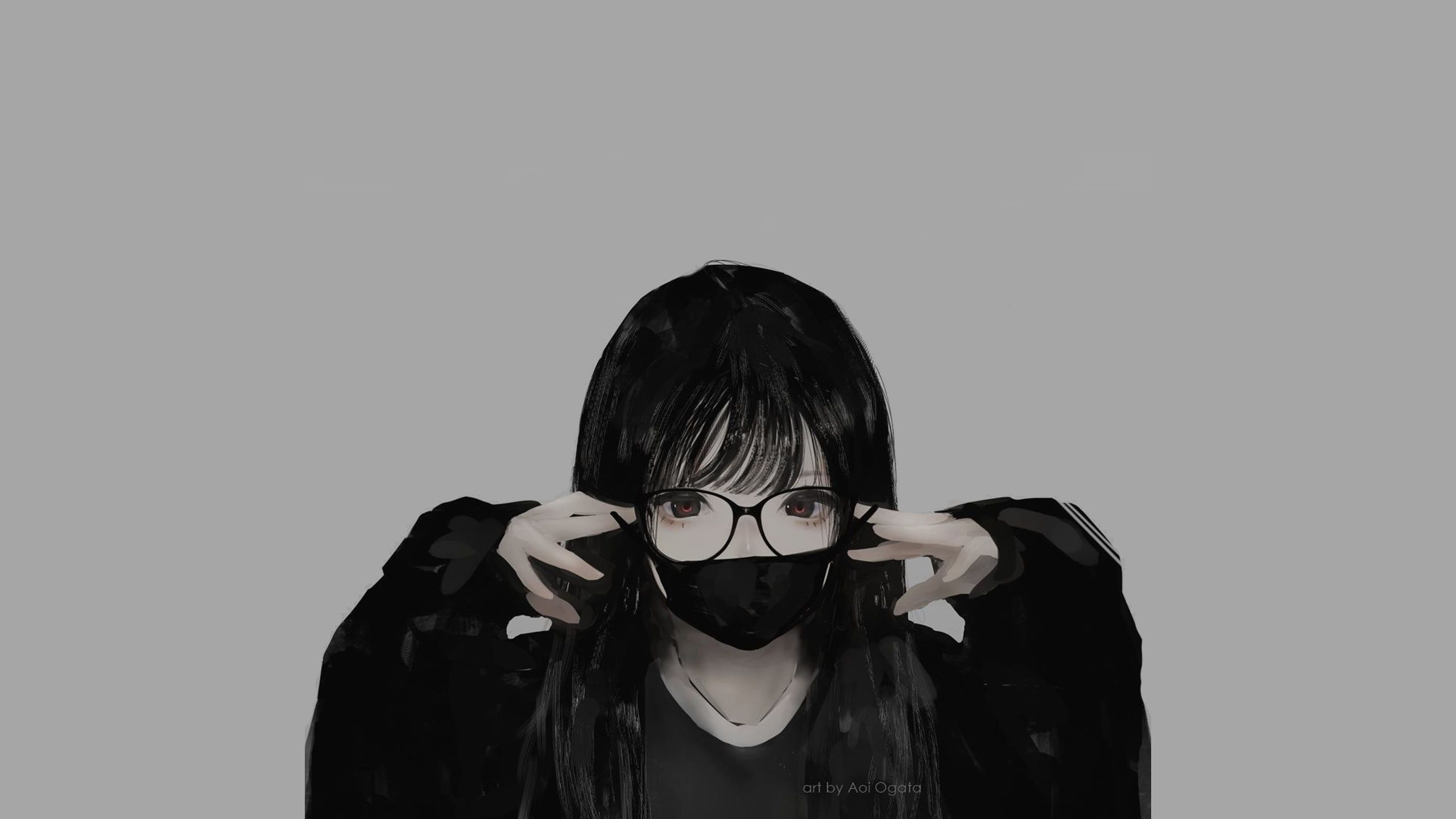 Glasses Minimalism Monochrome Mask Aoi Ogata Anime Girls Anime