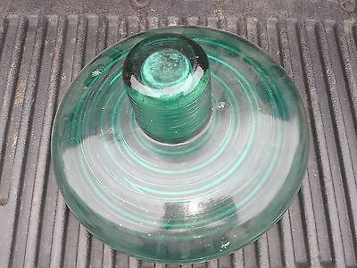 Metal top removed green glass insulator 12 glass for Glass power line insulators