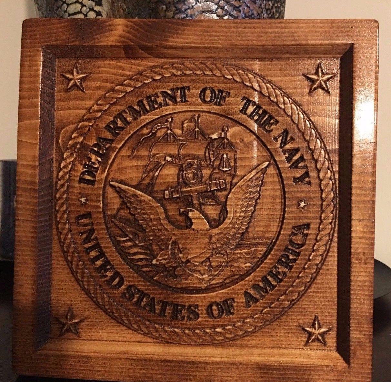 Wood Carved Navy Logo Plaque