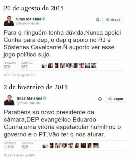 Malafaia mente ao dizer agora que nunca apoiou Cunha