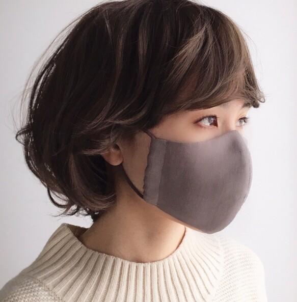 ミニへリンボーン柄 ベーシックカラー 天然素材のシンプル立体マスク 1枚入り ベーシック マスク 上品