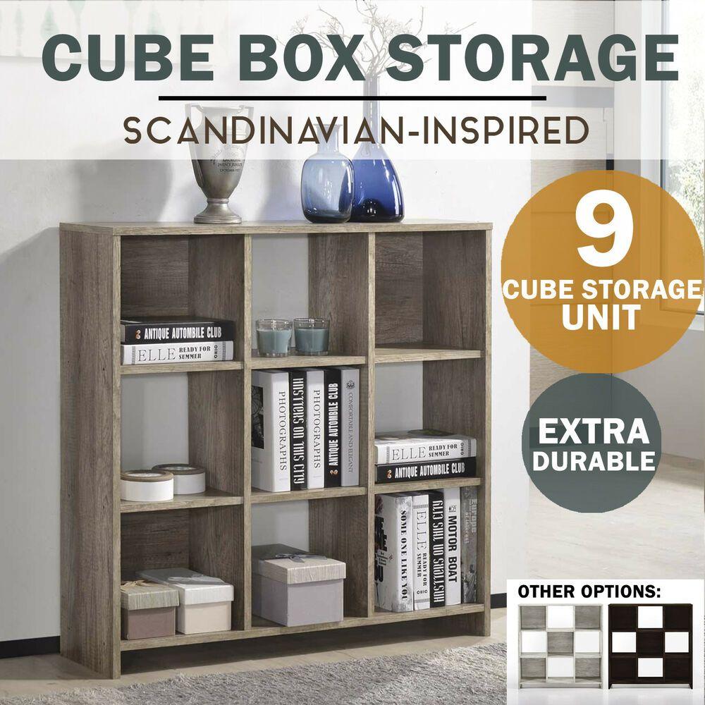 Details About Meya Cube Storage Shelf Unit Scandinavian Oak Modern