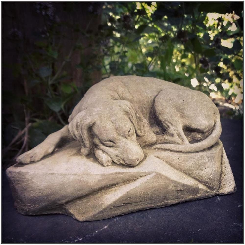 New Sleeping Dog Stone Garden Statue Ornament Sculpture Grave