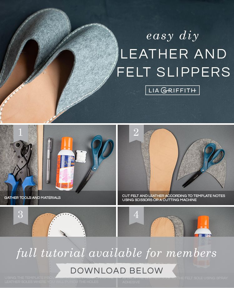 DIY Felt and Leather Slippers Tutorial is part of Leather shoes diy - Follow our template and tutorial to make a pair of cozy DIY felt and leather slippers that will keep your feet snug and warm this winter