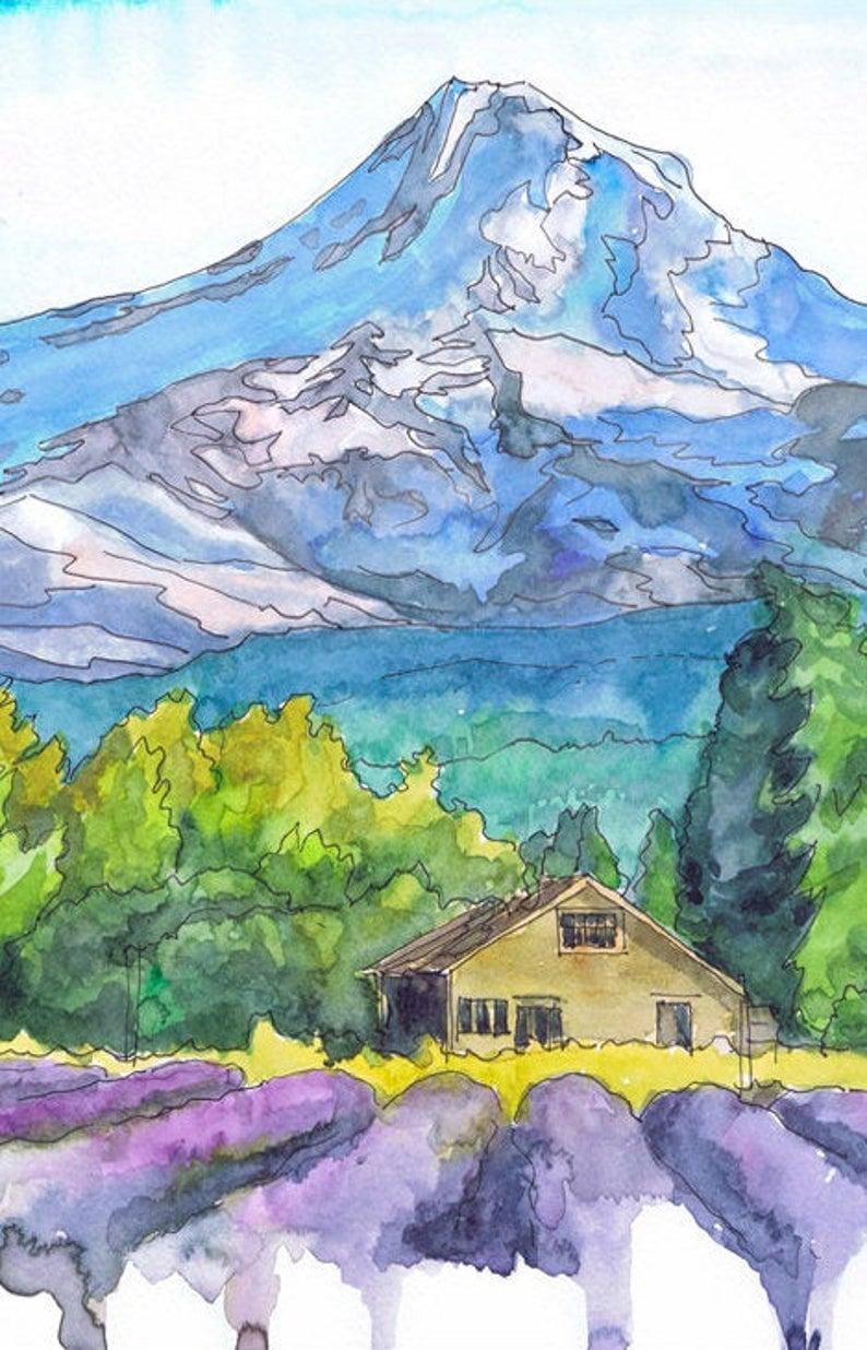 Mt Hood Wall Art Print Watercolor Landscape Painting Oregon Etsy In 2020 Watercolor Landscape Paintings Landscape Paintings Watercolor Landscape