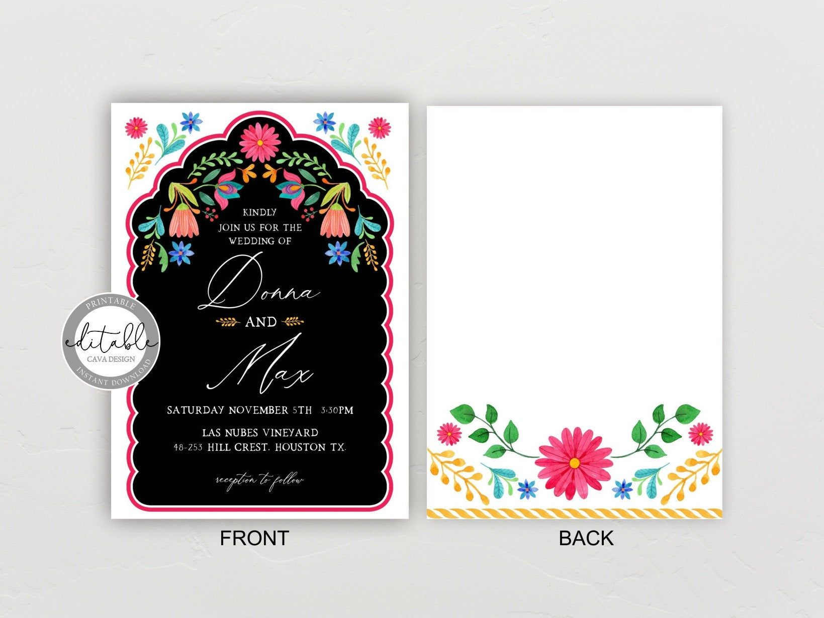 Mexican themed wedding invitations