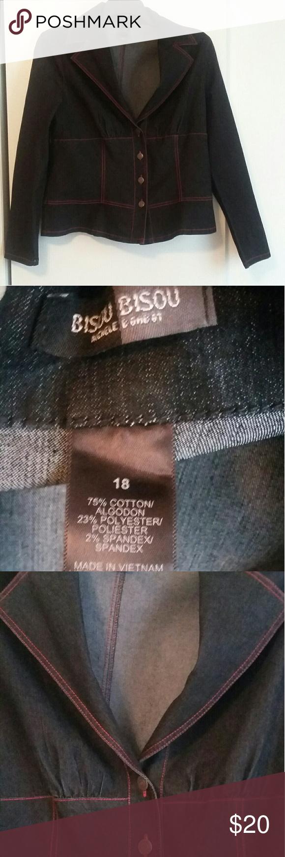 72c041e66f364 NWOT Bisou Bisou Size 18 black denim jacket Black cotton/polyester /spandex  blend denim