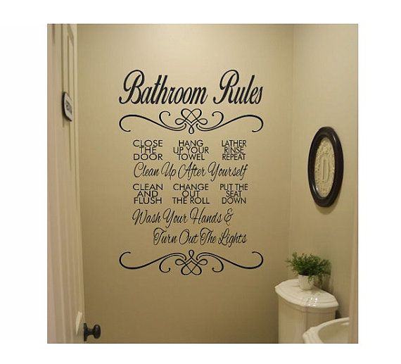 Bathroom Wall Quote Sign Vinyl Decal Sticker Bathroom Rules Etsy Bathroom Wall Quotes Wall Quotes Decals Bathroom Rules