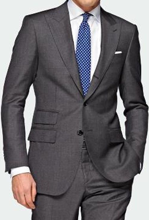 bd87c44301e7e CUSTOM MADE FASHION grooms men grey suits,Double pocket + Cuff  shows(Jacket+Pant