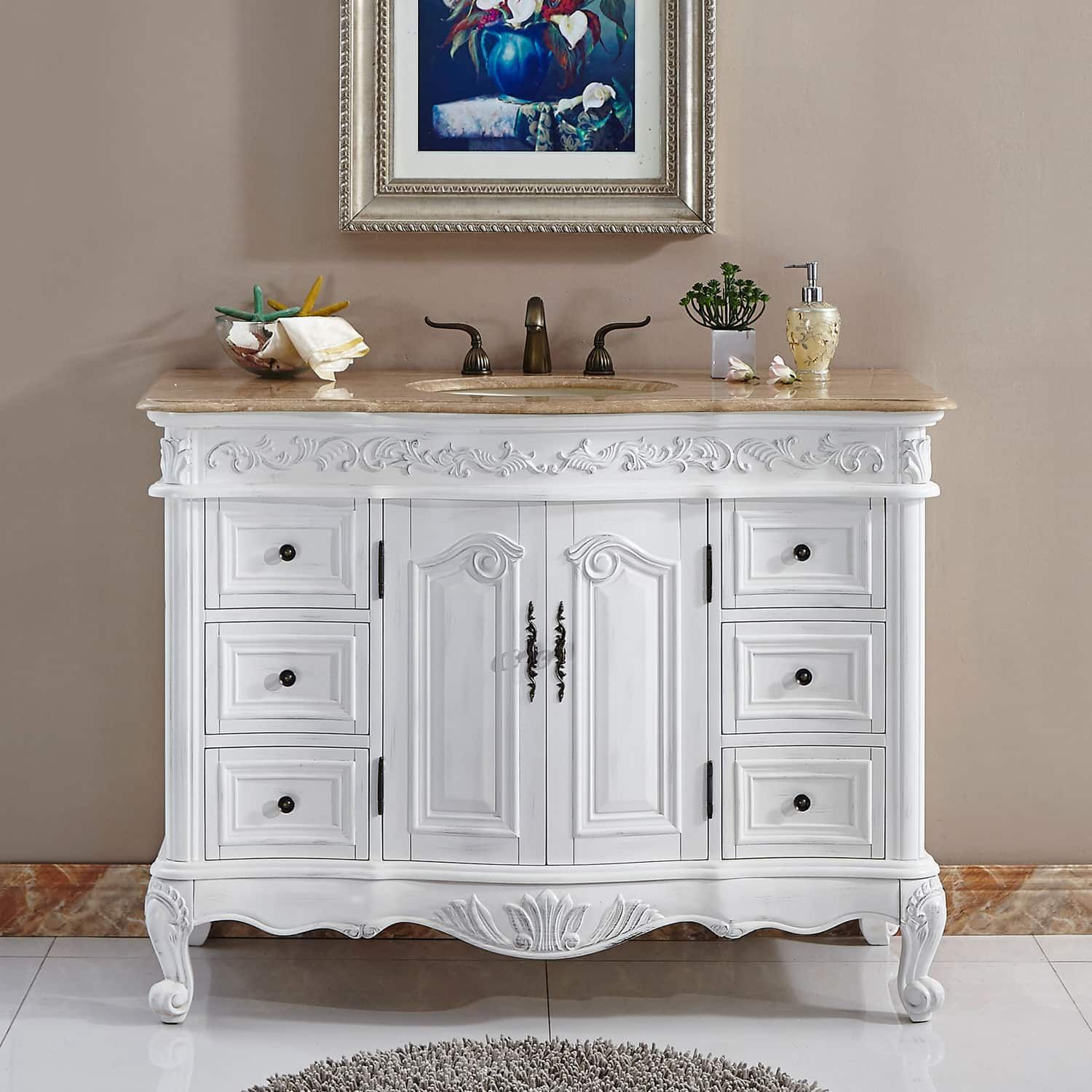 Silkroad Exclusive Upland Bathroom Single Sink Vanity Ivory f