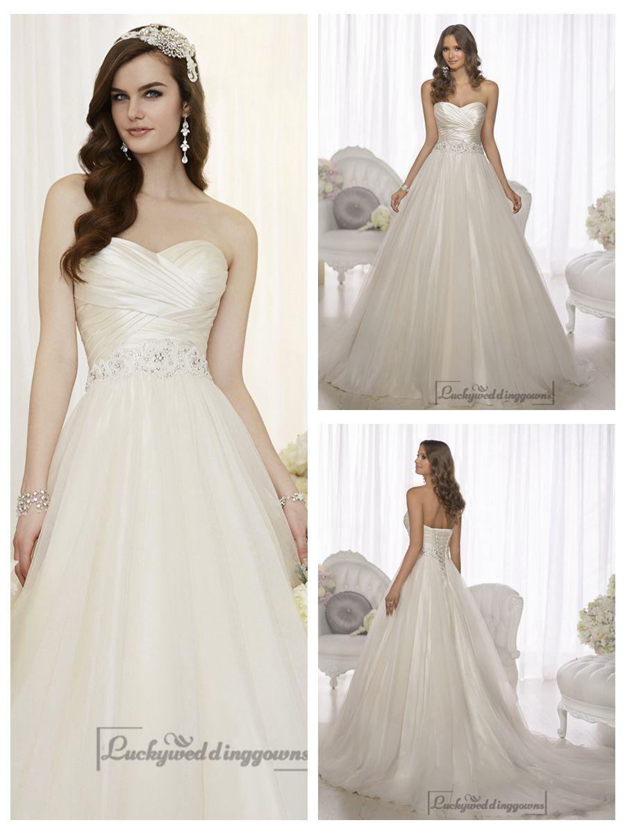 Criss cross asymmetrical sweetheart neckline aline wedding dresses