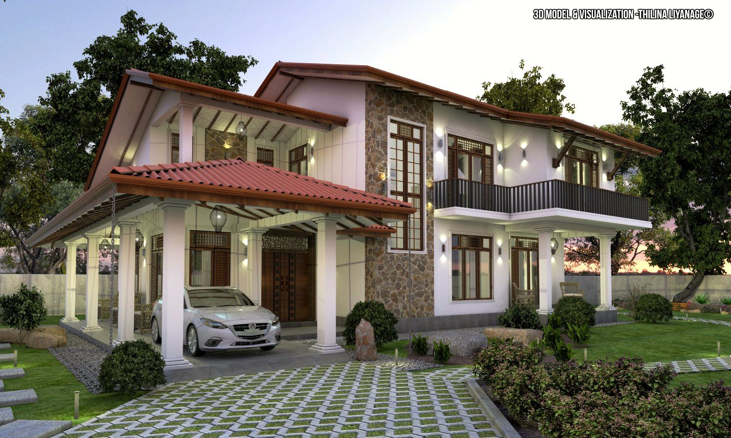 Proposed House At Nittambuwa Sri Lanka House Including Car Porch Verandah Sitting Dining Kitchen T V Lounge Large Ba Home Decor Shops House Design Porch Design