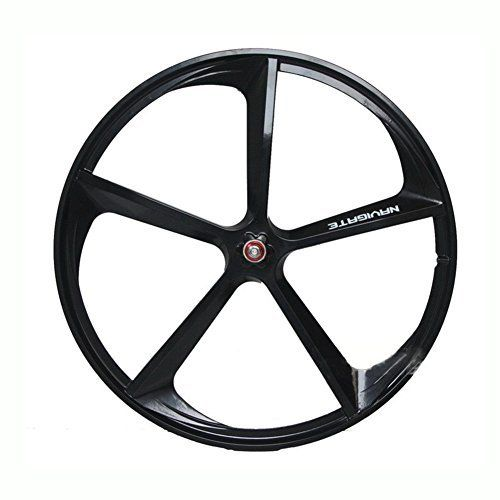Magnesium Alloy Wheel 700c Bike 5 Spokes Fixie Bicycle Front Wheel Mag Alloy Fixed Gear Bike Wheels Rims Front Black Bike Wheel Fixed Gear Bike Bicycle Wheel