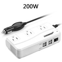 Home Bestek 200w Inverter Dc 12v To 110v Ac With 3 Outlet And 4 2a Port Usb Car Adapter Strip Size Us Socket Color White