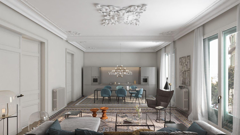 Proyecto de interiorismo de la casa bur s piso tipo vilablanch estudio de arquitectura - Estudio arquitectura barcelona ...