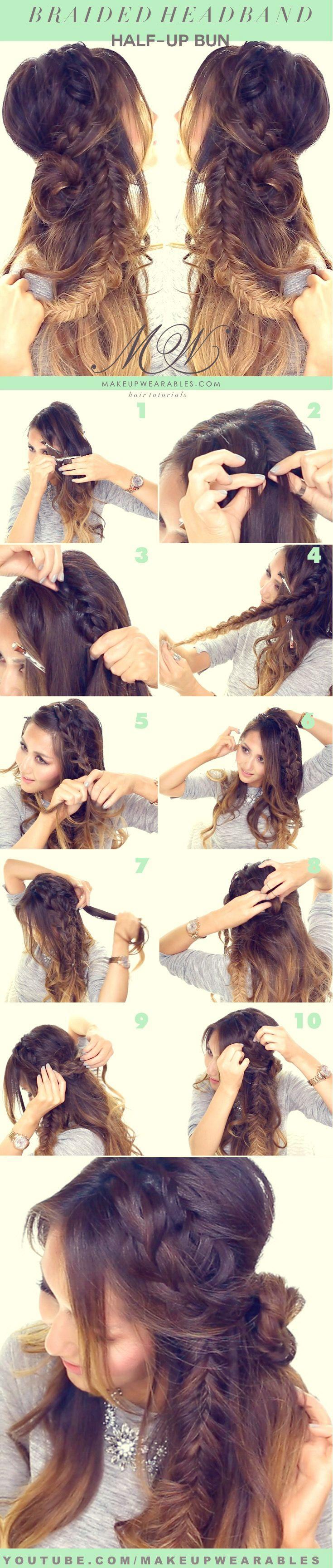 Cute braided half updo bun tutorial easy hairstyles hair mair
