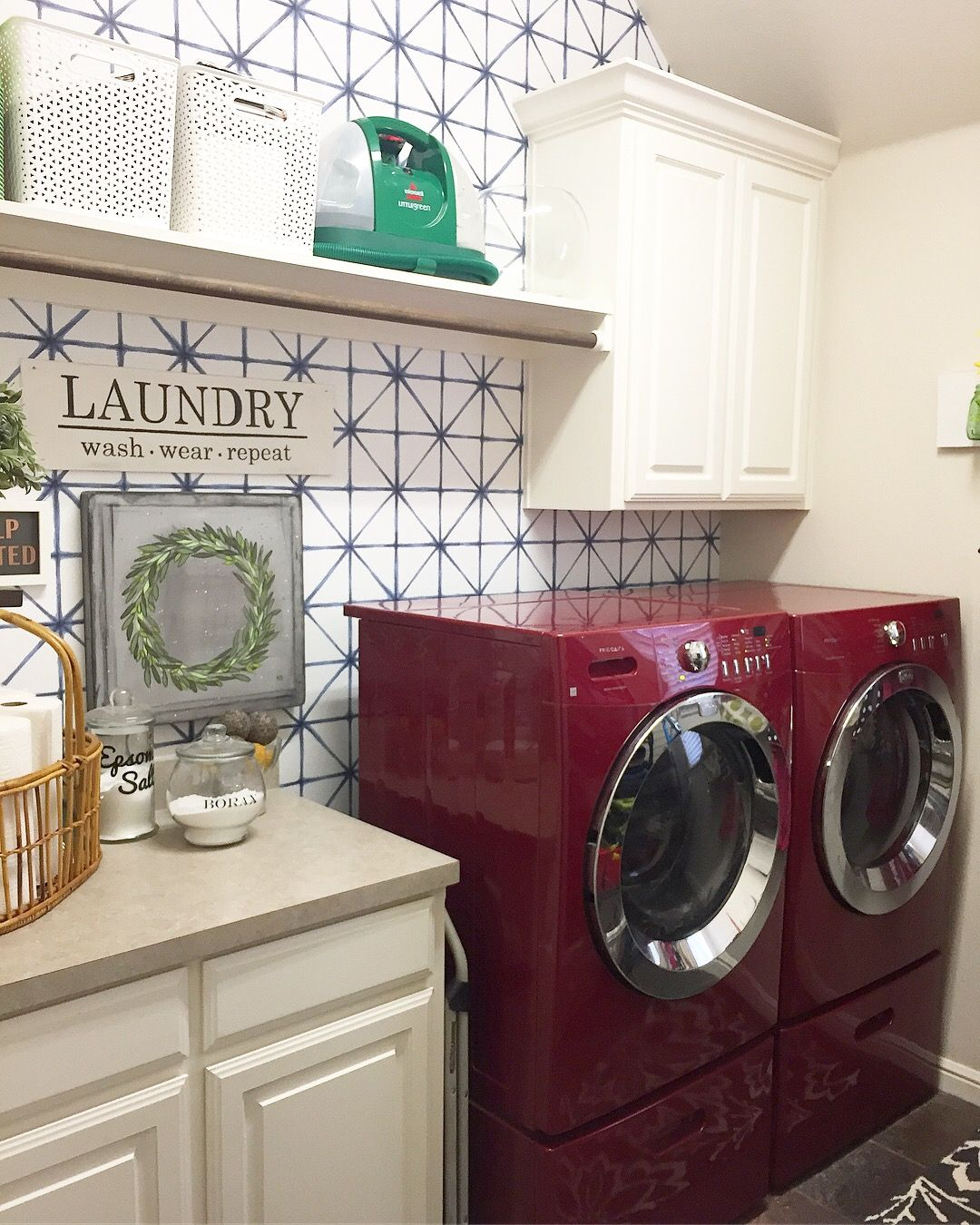 Wallpapered Focal Wall In Laundry Room Roommates Modern Abstract Blue Peel And Stick Wallpaper Laundry Room Focal Wall Room