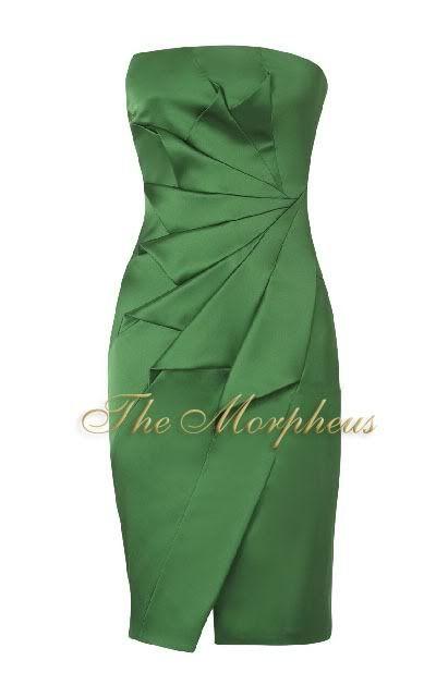 Hollywood Signature Stretch Satin strapless dress-green