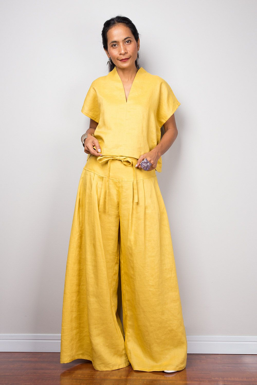 cca9c816b901 Linen palazzo pants  handmade  linen  yellow  fashion  shopping  khaesri