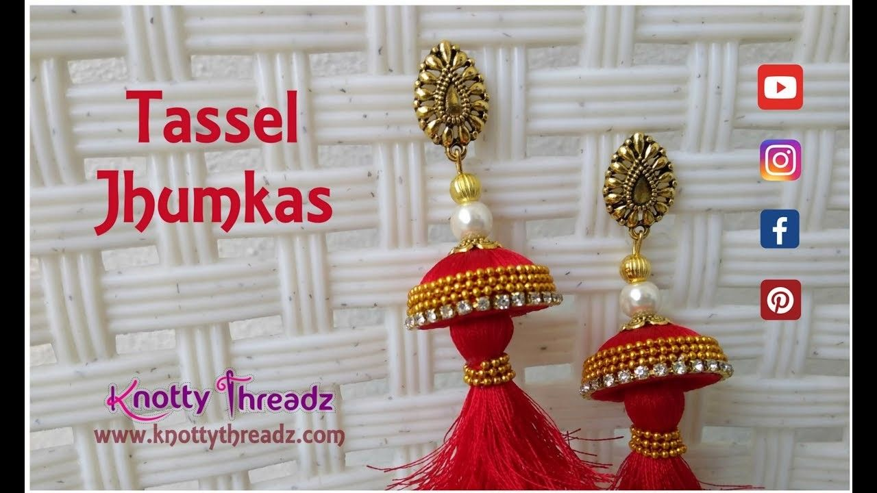 How to make Red Tassel Jhumkas | DIY Tutorial | Party Wear Trendy Earrings | www.knottythreadz.com