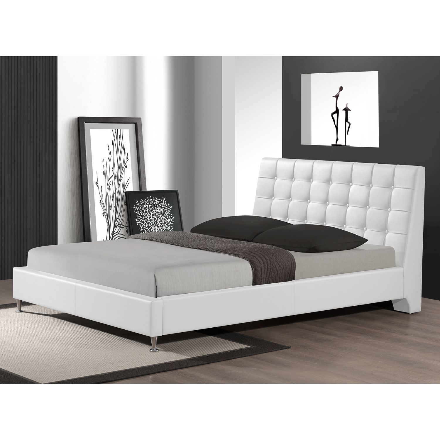 Baxton Studio Zeller White Modern Bed with Upholstered Headboard ...