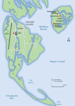 Tangier Island Map Map of Tangier Island. Image courtesy of Lucidity Information