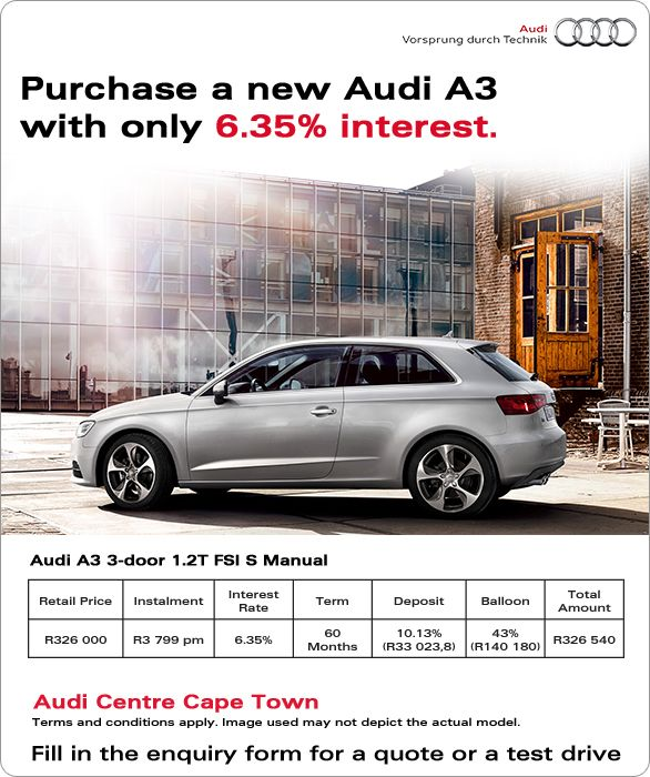 Purchase A New Audi A3 With Only 6.35% Interest. From R3