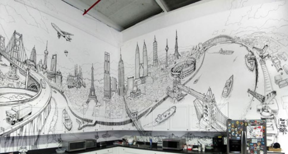 17 Corporate And Office Wall Mural Design Ideas The Canvas Press Blog Cityscape Mural Mural Design Wall Drawing