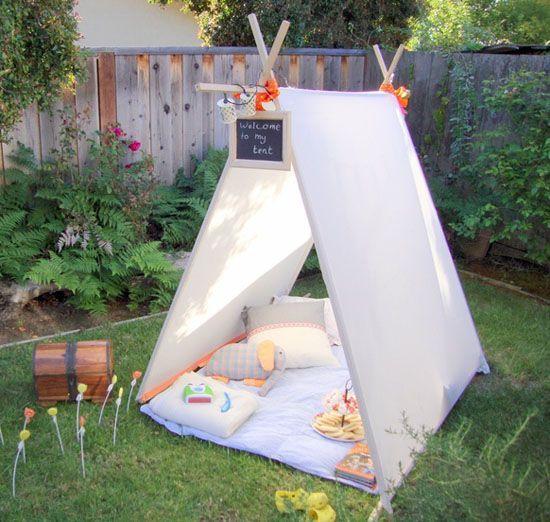 Nastiya² Fabriquer un tipi enfant avec des rideaux ! jardin