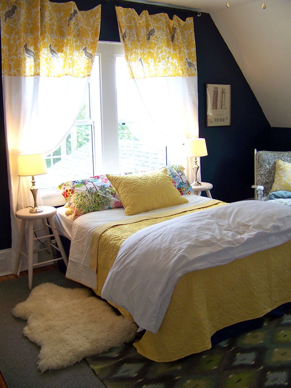 Guest Room Dark Blue and yellow Yellow bedroom walls