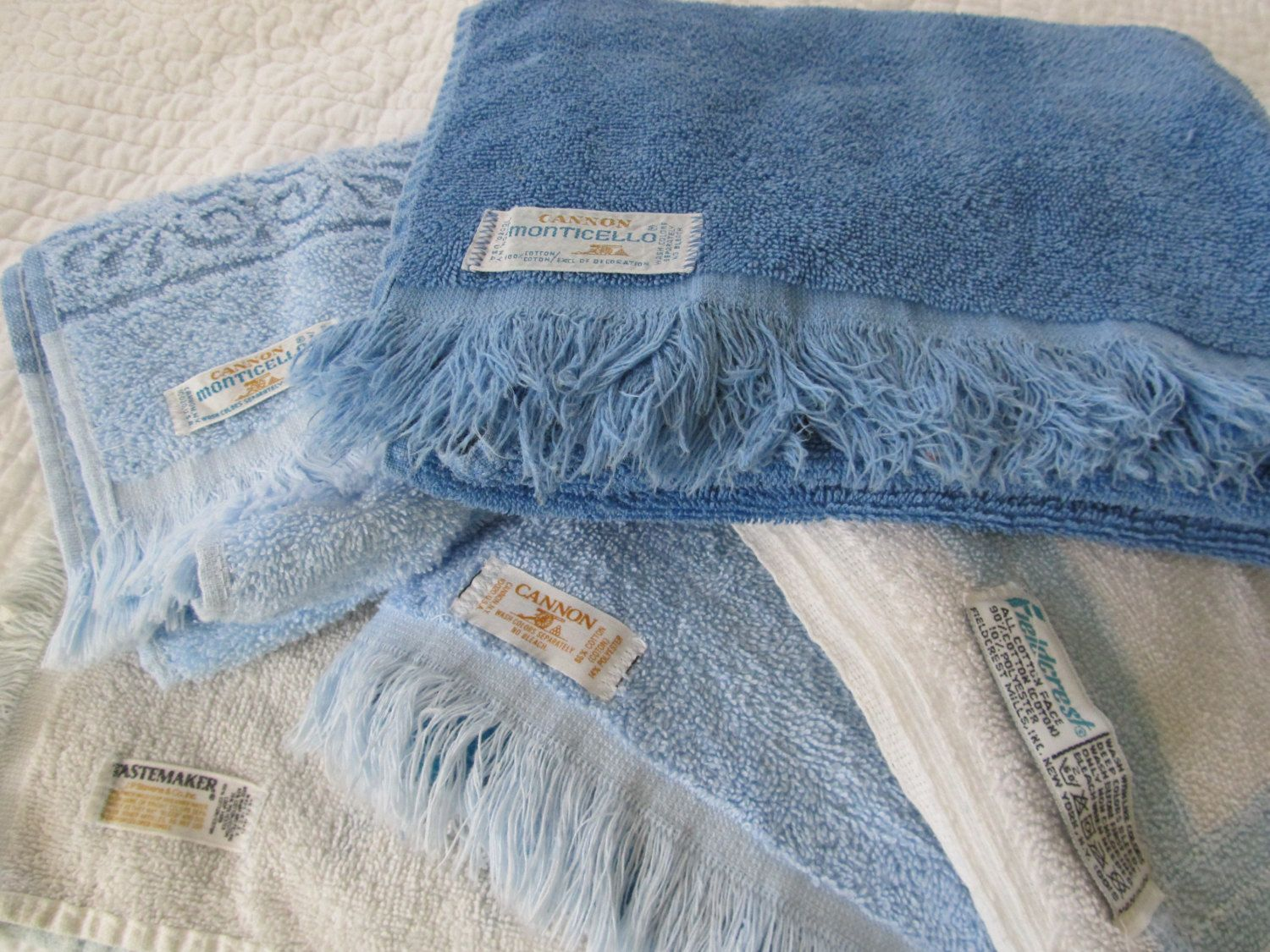 Vintage Mismatched Cannon Bath Hand Towel Set Of 8 Denim Navy Blue