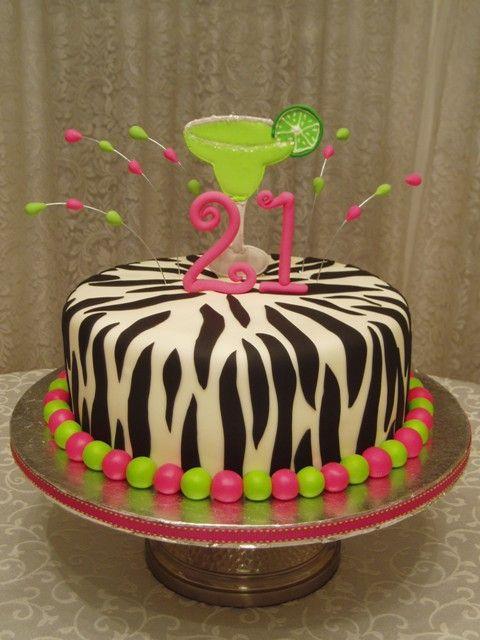 21st Zebra Print Margarita Birthday Colorful 21st Birthday Cake
