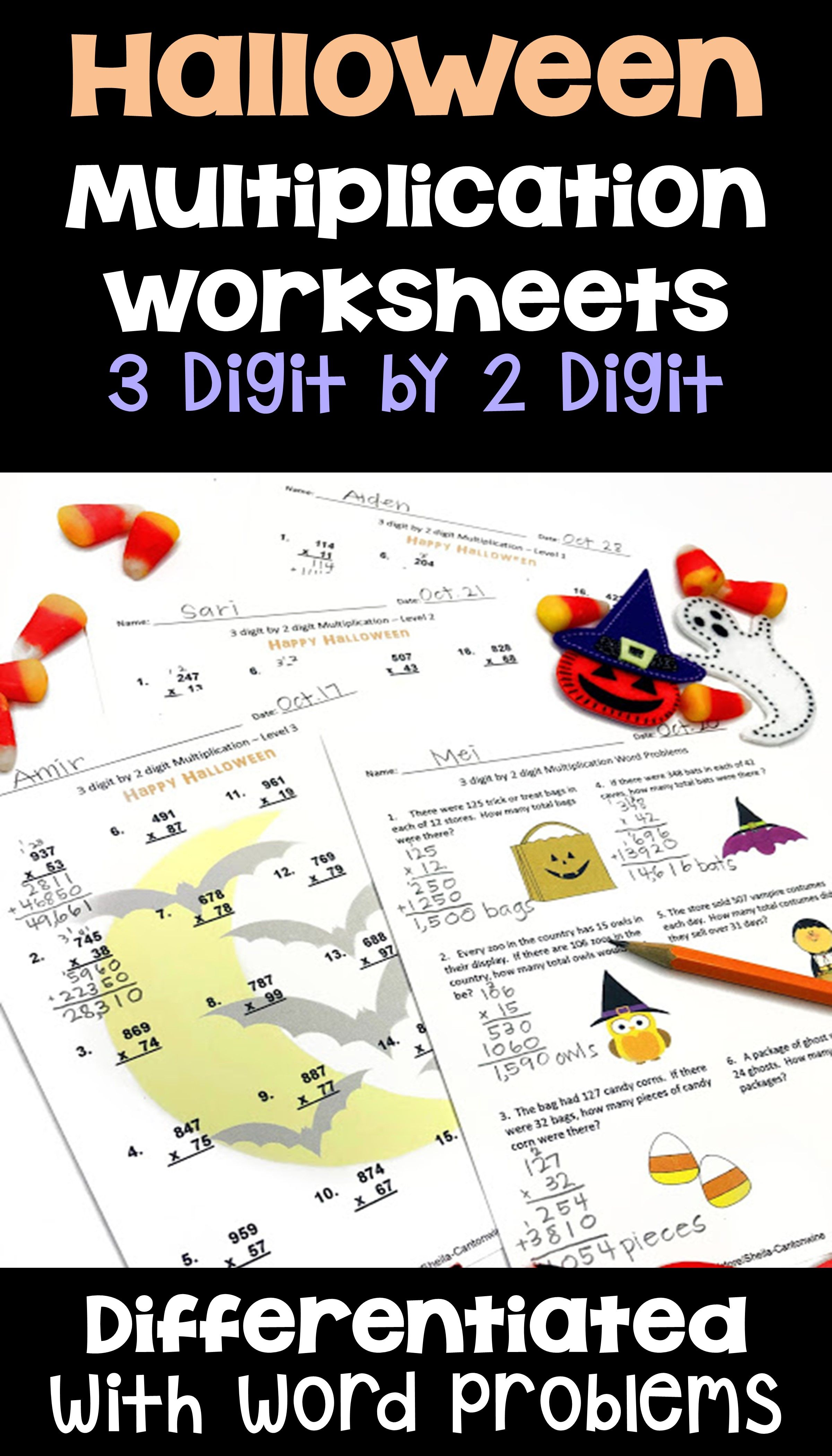 Halloween Math 3 Digit By 2 Digit Multiplication