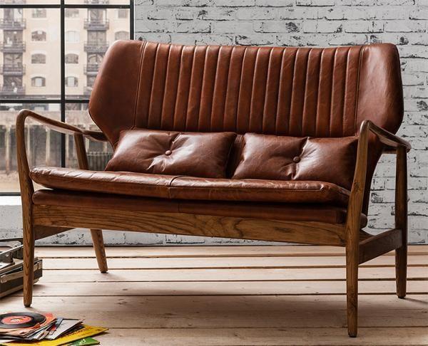 Retro Modern Gallery Hudson Living Viva Brown Leather And Oak 2 Seater Sofa