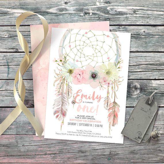 43 Dreamy Watercolor Inspired Wedding Ideas: Dreamcatcher Boho 1st Birthday Invitation. Digital Files