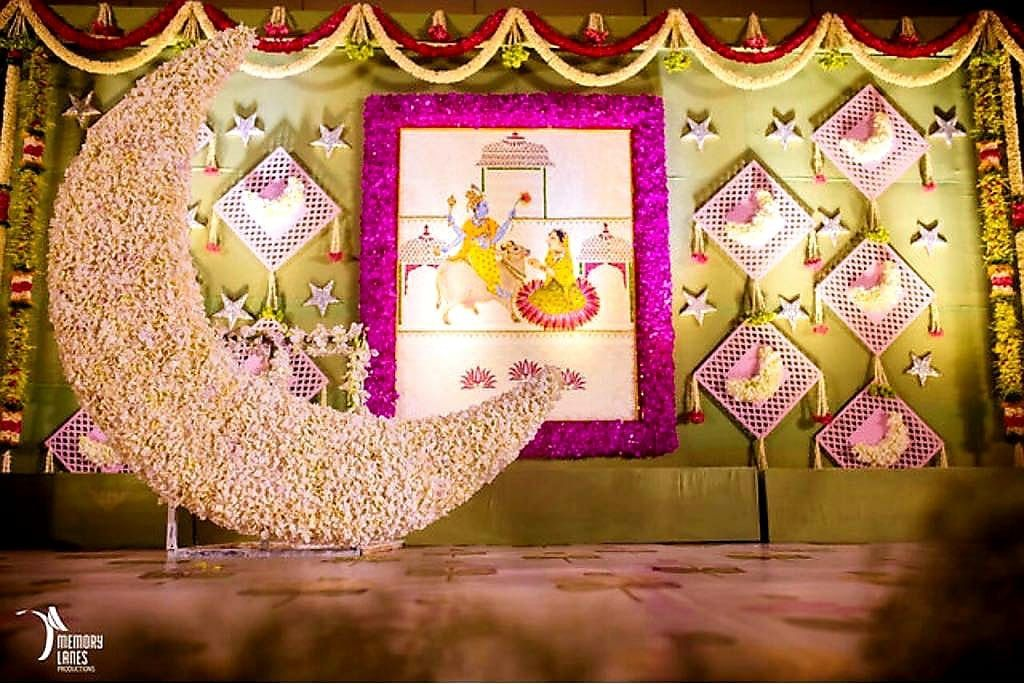 Pin By Srividya Mothey On Decor Naming Ceremony Decoration Cradle Ceremony Baby Shower Theme Decorations