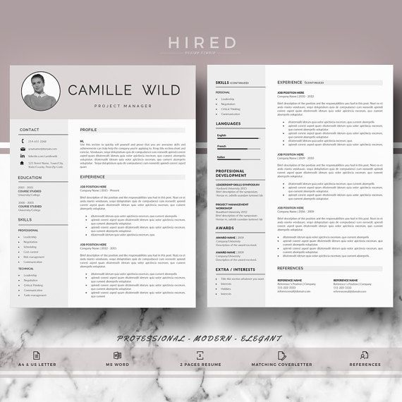 Professional CV Template Resume for Word One, two page resume